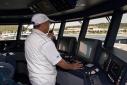 Captain manoveuring Ermis 2 from the bridge