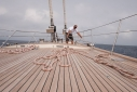Preparing to unfurl the headsails aboard Selene