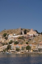 Church above Gialos at the entrance to Symi harbour