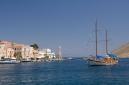 Gulet Olympus arriving in Symi harbour, Gialos