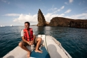 Areyel aboard Queen of Galapagos' tender approaching Bartolome Island