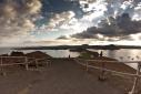 View across Bartolome Island to San Salvador Island