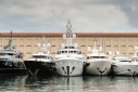 Yachts on the Molo Vecchio Dock. Porto Antico during the Genoa Charter Show