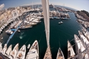 View of the Monaco Yacht Show from the crow's nest of Marie with a fisheye lens