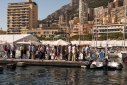 Queue for the tender service at the Monaco yacht show from the water