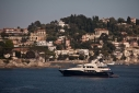 Trinity yacht Big City at anchor in Rade de Villefranche from ashore