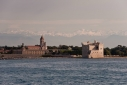 The monastery on Ile Saint-Honorat one of the Iles de Lerins from aboard Big City