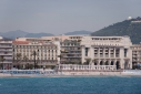 Le Royal and the Palais de la Mediterranee on the Promenade des Anglais with beach in front from the sea