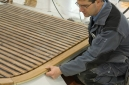 Teak decking laid by Umberto Gori aboard the Perini Navi Helios