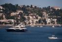 Trinity yacht Big City at anchor in Rade de Villefranche from ashore