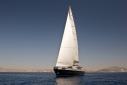 The 31.5m motorsailer Sylver K under sail from forward