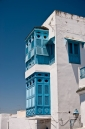 Traditional blue painted windows in Sidi Bou Said