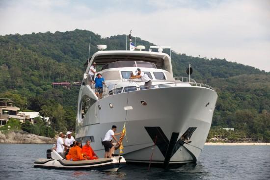 Caption - Monks arrive to do 'Blessing of Fleet' at ASR