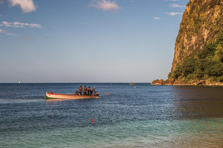 Locals fishing in the marine reserve at the Pitons