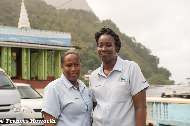 Enda Norbal and Keziah Alcindor members of the Soufriere Regional Development Foundation