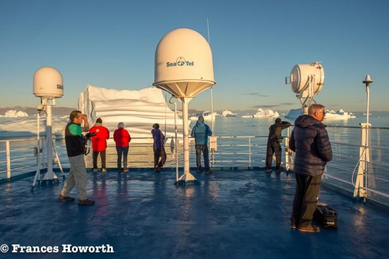 Watching icebergs off the coast of Greenland from aboard Ocean Endeavour