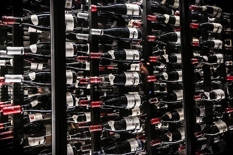 Wines on display