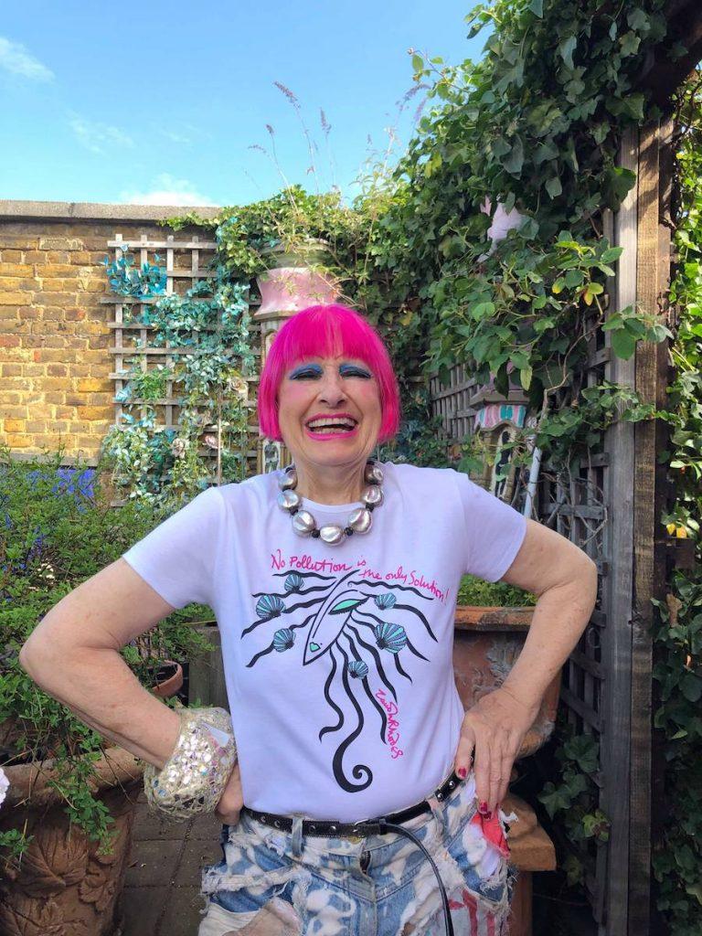 Veteran British fashion designer Dame Zandra Rhodes has donated a t-shirt design to the Environmental Justice Foundation (EJF)