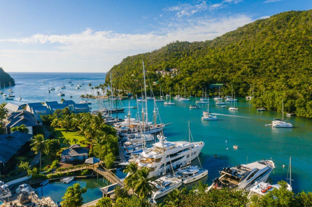 St Lucia superyacht marina and Marigot Bay Resort Hotel