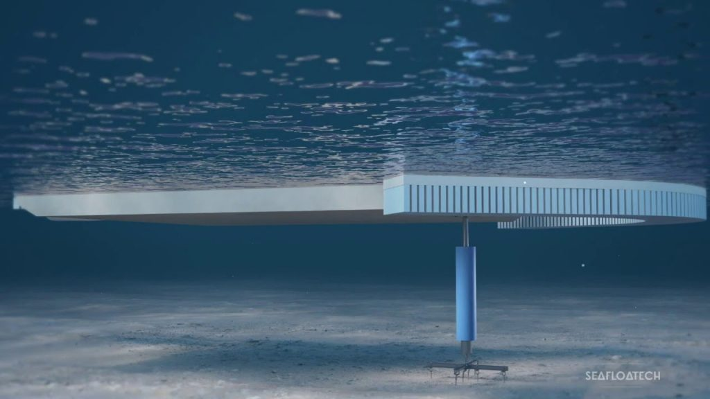 The Seafloatech POD is connected to sea, lake and riverbeds using an ecological system (anchors, screws, sealing) and consists of a mast articulated at its base,