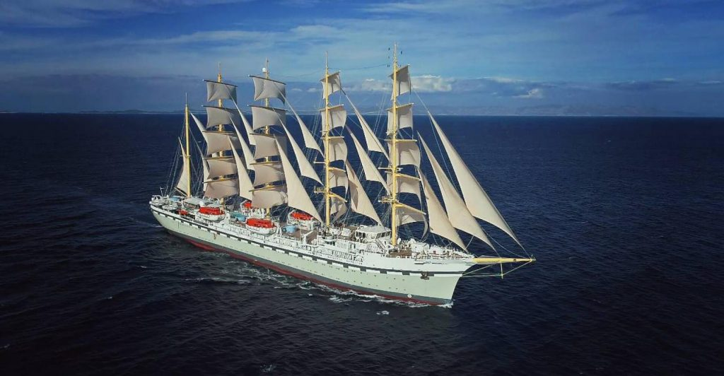 Primarily a sailing ship with auxiliary engines Golden Horizon is 162 metres overall and carries a beam of 18.5 metres.  Her gross tonnage has been reported as 8,700gt and her 272 passenger capacity will be serviced by a crew of 159