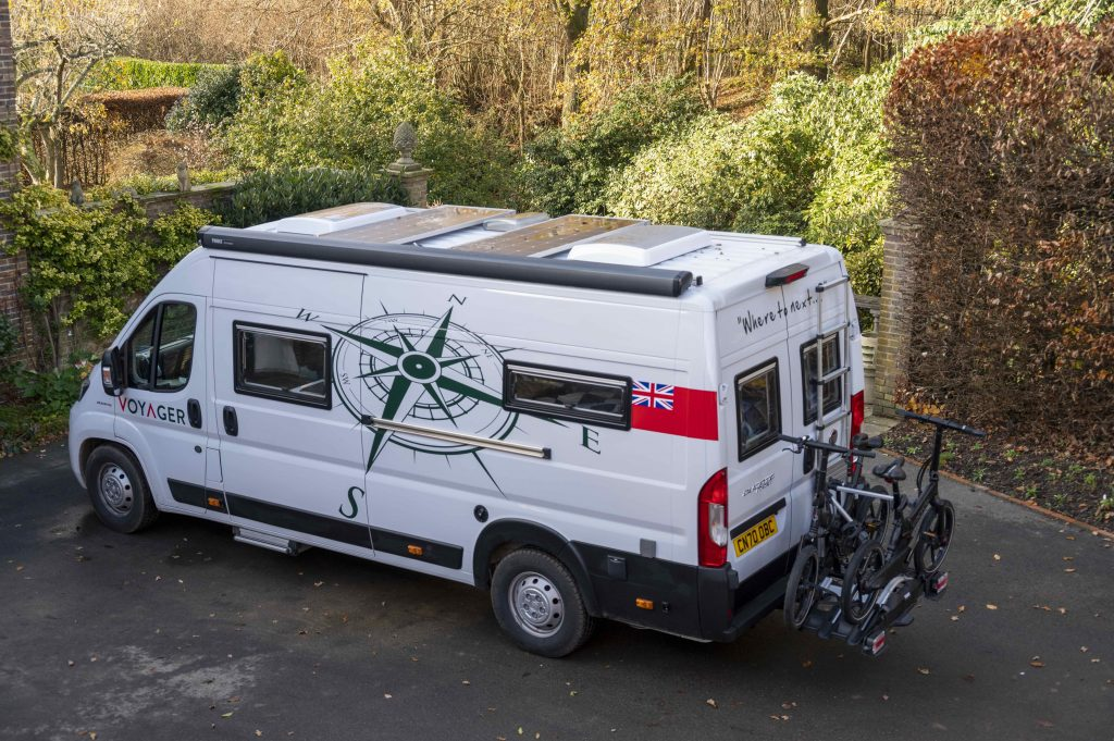 Solar panels, awning and bicycle rack are almost essential extras for the well equipped campervan