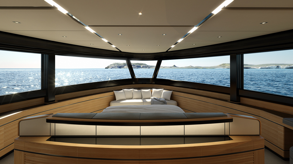 In total that is more than 200 square metres of indoor living space, including a 22-square-metre upper deck interior and a 100-square-metre main deck interior.