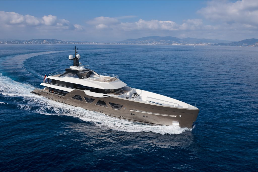 The first Amels 60 will feature an owner-specified metallic grey hull with white and black superstructure.